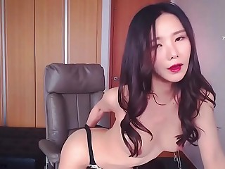 Korean BJ Neat fingers herself in cute black panties