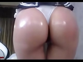 Busty Korean Girl Oils Up Her Big Sexy Ass