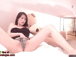 Korean teen camgirl creams her boobs