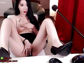 Korean camgirl in heels sensual teasing