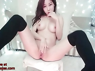 Big tits Korean fingering in tights